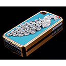 Apple iPhone 4 Luxus Pfau Strass Diamant Bling Tasche Schutzhülle Cover - Blau