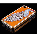Apple iPhone 4 Luxus Pfau Strass Diamant Bling Tasche Schutzhülle Cover - Orange