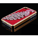 Apple iPhone 4 Luxus Pfau Strass Diamant Bling Tasche Schutzhülle Cover - Rot