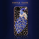 Apple iPhone 5 Luxus Pfau Strass Diamant Bling Tasche Schutzhülle Case - Blau