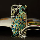 Apple iPhone 5 Luxus Pfau Strass Diamant Bling Tasche Schutzhülle Case - Himmelblau