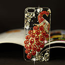 Apple iPhone 5 Luxus Pfau Strass Diamant Bling Tasche Schutzhülle Case - Rot