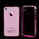 Silikon Tasche Apple iPhone 4 Schutzhülle Transparent Case - Pink