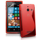 Silikon Tasche Huawei Ascend W1 Windows Phone S-Line Schutzhülle Gel Case - Rot