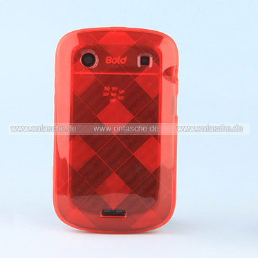 Silikon Tasche Blackberry Bold 9900 Grid Hülle TPU Case - Rot